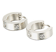 presente para namorado moda única de strass prata titânio brincos de aço (1 par)