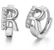 "Gifr for Boyfriend High Quality Silver Plated Letter ""R"" Men's Stud Earrings(1 pr)"