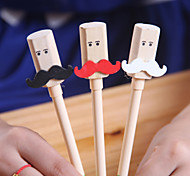 Wooden Cute Mustache Pattern Black Ink Gel Pen(Random Colors)