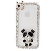 Panda und DIY-Kettenrahmen mit Strass-Muster Kunststoff Hard Case für iPhone 4/4S
