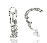 Ladys Fashion Jewelry 18K White Gold Plated SWA Elements Rhinestone Clip-on Earrings