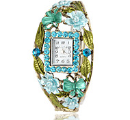 Women's Bohemia Style Blue Crystal Bronze Alloy Quartz Bracelet Watch