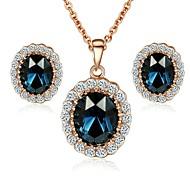 Set los pendientes nuevos de la llegada 18K Rose plateó Austria cristal de zafiro de la piedra azul del collar pendiente