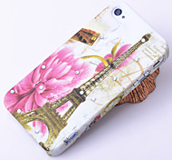 Flower and Eiffel Tower Pattern Zircon Back Case for 4/4S