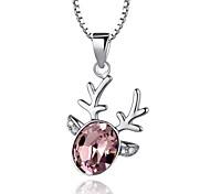 Alta calidad ciervos encantadores Crystal platino plata de ley collar plateado