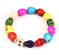 Punk Skull 21cm Women's Multicolor Silicone Strand Bracelet (1 Pc)