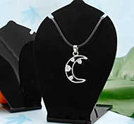 Moda Acrílico Folha Forma Jewelry Display Stand Para Pendant (preto) (2pcs)