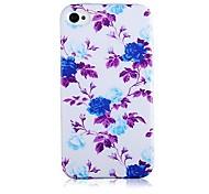 Blue Rose Pattern Soft Case de silicone para iPhone5/5S