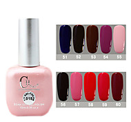1PCS CH Soak-off Pink Bottle Solid Color UV Color Gel Polish NO.51-60(15ml,Assorted Color)