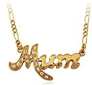 u7® letras mamã colares gargantilha platina ouro 18k strass banhado