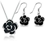 18K White Gold Plated Use Brilhantes Áustria Cristal Black Rose pingente de flor brincos conjunto de jóias