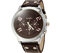 Men's Solid Color Round Dial PU Band Quartz Analog Fashion Watch (Assorted Color)