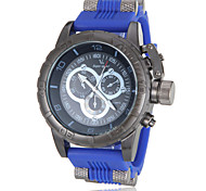 Men's Military Style Black Case Silicone Band Quartz Wrist Watch (Assorted Colors)