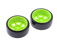 60mm Rubber Tyre for RC 1:10 Car in Green (2 pcs)