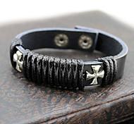 z&moda x® patrón cruzado pulsera de cuero negro 25cm de los hombres (negro, blanco) (1 unidad)