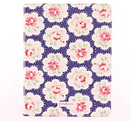 Red Flowers Purple Bottom Pattern PU Leather Full Body Case with Stand for iPad 2/3/4