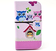 For Motorola Case Card Holder / with Stand / Flip / Pattern Case Full Body Case Owl Hard PU Leather Motorola