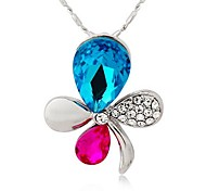 Fashion  Alloy Colorful Butterfly Pendant Necklace