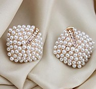 Lureme®Pearls Diamond Shape Stud Earrning
