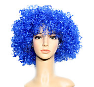 Capless Football Fans Party Wig Blue