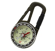 Outdoor Camping Mountaineering Carabiner Compass with Calendar - Army green