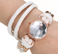 Women's Decoration Round Dial PU Band Bracelet Watch (Assorted Color)