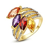 Environmental Rings for Women Sapphire Fashion Finger Ring 18K Yellow Gold Plated Use Shining Crystal