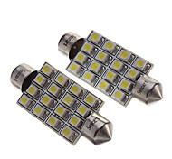 "2Pcs 42Mm 16-Smd 1.72"" 12V Festoon Dome Light Led Bulbs + Sticker"