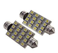"""Luz 2pcs 42 milímetros de 16 SMD 1,72 """"12v festão cúpula lâmpadas LED + adesivo"""
