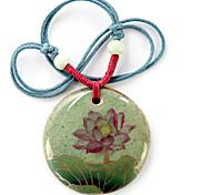 Fashion (Lotus Pattern Ceramic Round Pendant) Light Blue Fabric Pendant Necklace (1 Pc)