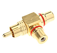 RCA Female to 2 Male AV Adapter (Golden)