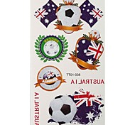 2PCS Football Pattern Australia World Cup Waterproof Tattoo Body Temporary Glitter Stickers