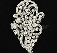 7.1cm Alloy and Clear Rhinetone Brooch Hat carf Pin for Bridal