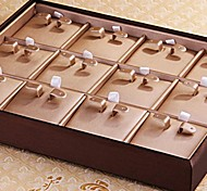 Fashion 12 Slots Leather Earrings Display Tray For Earrings (Light Coffee)(1pc)