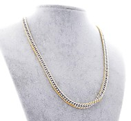 Fashion Golden Border Silvery Titanium Steel Chain Necklace