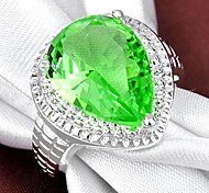 Fashion Lady's Green Quartz Crystal  925 Silver Ring 1PC