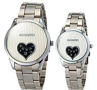Coeur de forme de Couple cadran rond de quartz de bande de montre de mode analogique en alliage (couleurs assorties)
