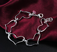 New Style Fashion Heart Bunch 22cm Silvery Alloy Charm Bracelet(1 Pc)