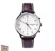 Personalized Father's Day Gift Men's White Dial Brown PU Band Analog Engraved Watch