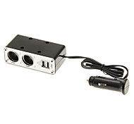 2-Outlet Car Cigarette Lighter Charger Socket Splitter with 2 USB Ports