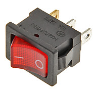 Rocker Switch 3-Pin ON / OFF (Rojo y Negro, 6A, CA 250V/10A, AC 125 V)