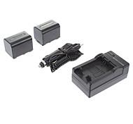 ismartdigi-Sony NP-FV70 (2pcs) 2060mah,7.2V Camera Battery+Car Charger for SONY XR350E XR550E SR68E FV100/FV50