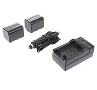 ismartdigi-Sony NP-FV70 (2pcs) 2060mah, 7.2V batería de la cámara + cargador de coche para SONY XR350E XR550E SR68E FV100/FV50