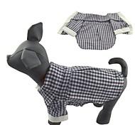Hunde / Katzen T-shirt / Shirt Schwarz Frühling/Herbst Plaid/Karomuster