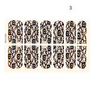12PCS Flower with Six Petals Shape Black Lace Nail Art Stickers NO.3