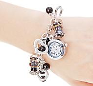 Women's Coloured Glaze Pendant Pearl Style Band Quartz Bracelet Watch