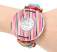 Mulheres Rainbow Color Round Dial Madeira banda quartzo analógico pulseira relógio