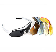 UV400 Bicycle Cycling Sports 5 lens Sun Glasses with White Frame