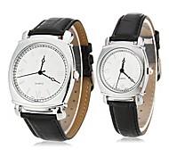 EYKI Couple's Roman Numerals Square Case Leather Band Quartz Wrist Watch (Assorted Colors)