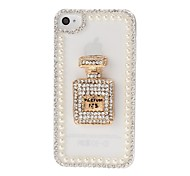 DIY Flasche und Perlen-Ketten-Rahmen mit Strass-Muster Kunststoff Hard Case für iPhone 4/4S